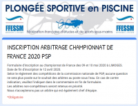INFOS COMMISSION NATIONALE PSP - ARBITRAGE CHAMPIONNAT DE FRANCE